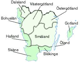 Karta över Skåneland och Götaland