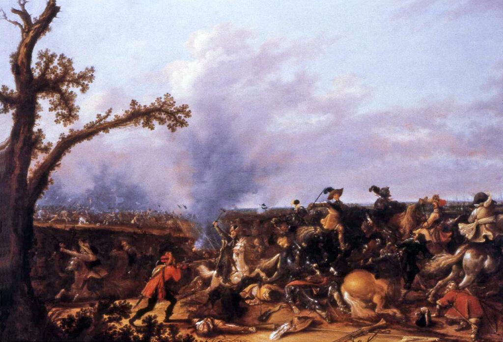 Gustav Adolf i slaget vid Lützen målad av Jan Asselijn 1632